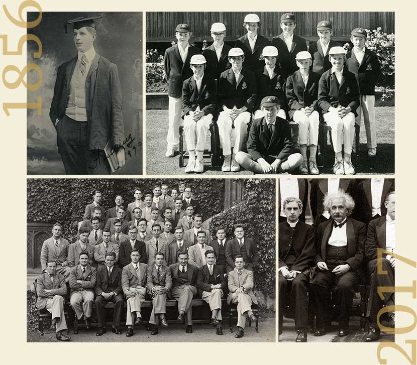 Vintage black and white photographs of a graduate, a sports team, a group of students, and Albert Einstein