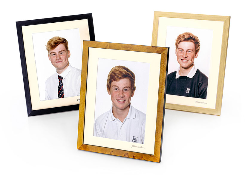 Photograph of 3 portraits in different coloured frames