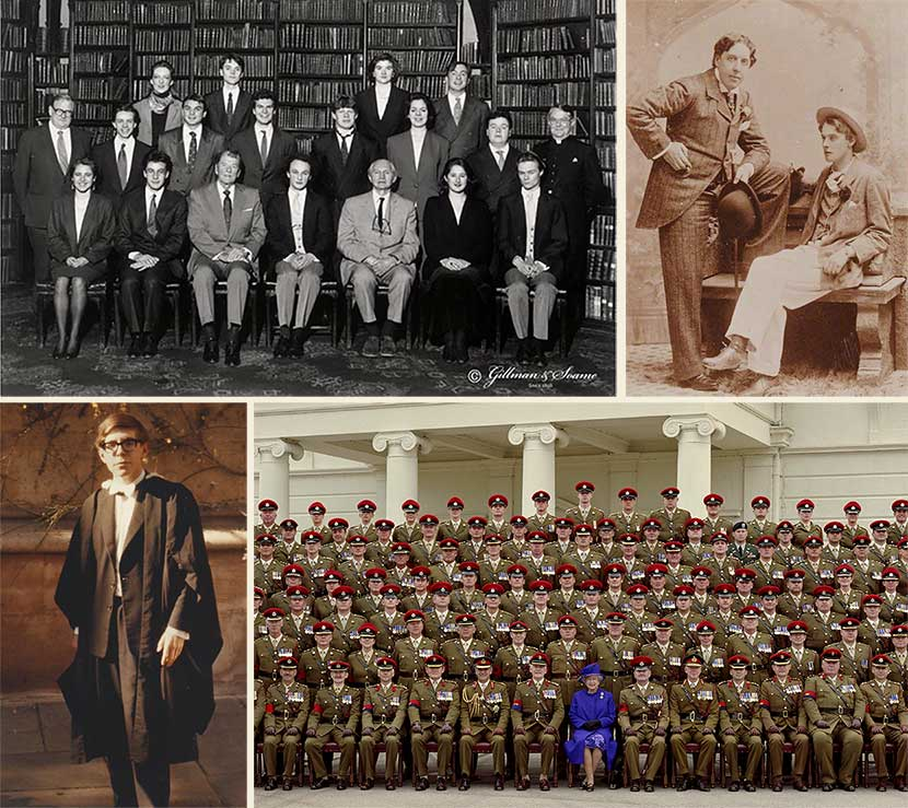 Photographs of the Oxford Union group (with Ronald Reagan); Oscar Wilde and Lord Alfred Douglas; Stephen Hawking in graduation gown; and military group including HM Queen Elizabeth II