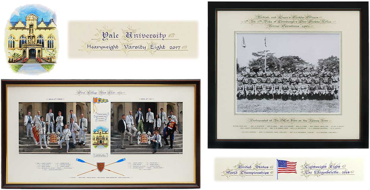 Photograph of a framing rowing team double mount with hand calligraphy